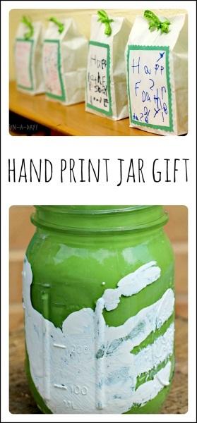 Mason Jar Handprint Vase