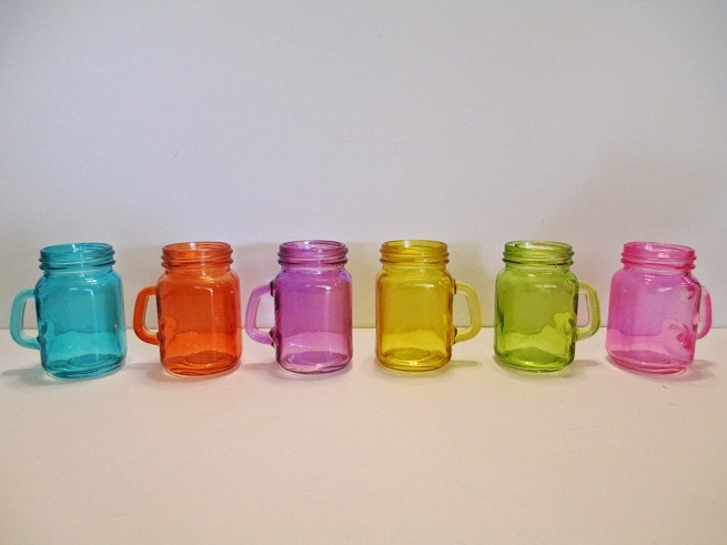 Colored Mason Jar Shot Glasses