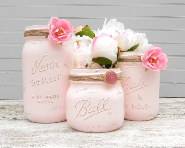 Mason Jar Vases Baby Shower