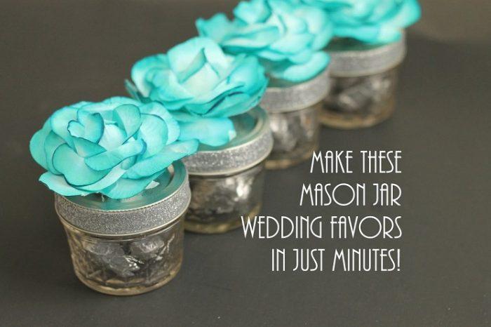 Mini Mason Jars Wedding Favors with Flowers