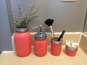 Diy Mason Jar Bathroom Set Mason Jar Crafts