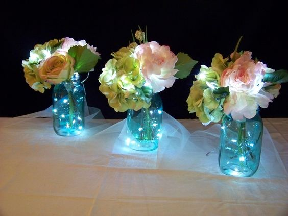 mason jar centerpiece at bridal shower