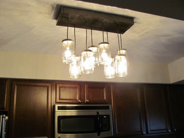 Diy mason jar kitchen lights mason jar crafts for Diy kitchen light fixtures