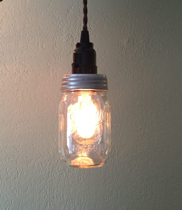 Diy mason jar kitchen lights mason jar crafts for Hanging lights made from mason jars