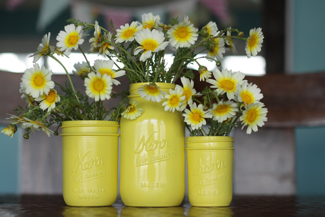 Spray Painted Mason Jar Centerpiece